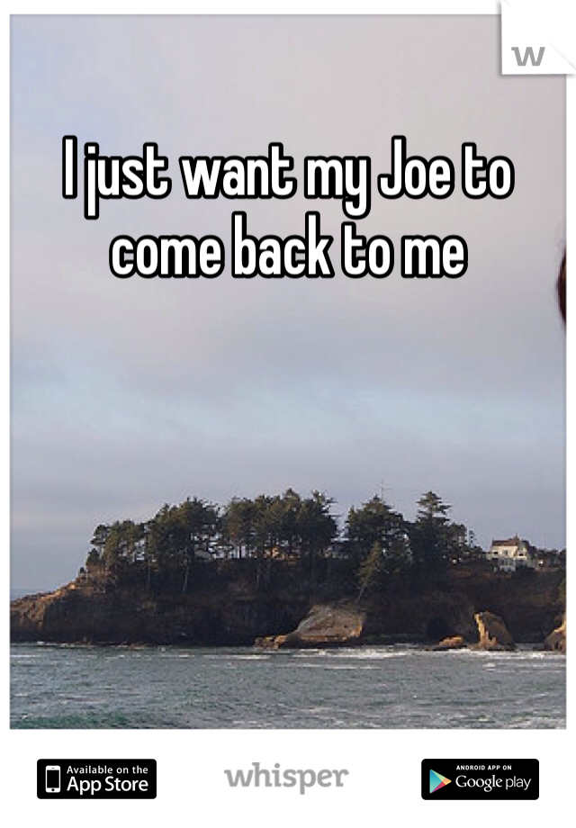 I just want my Joe to come back to me