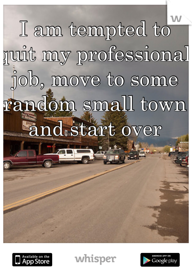 I am tempted to quit my professional job, move to some random small town and start over