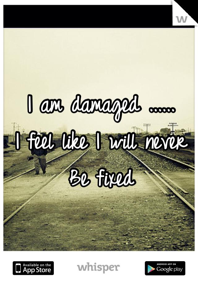 I am damaged ...... I feel like I will never  Be fixed