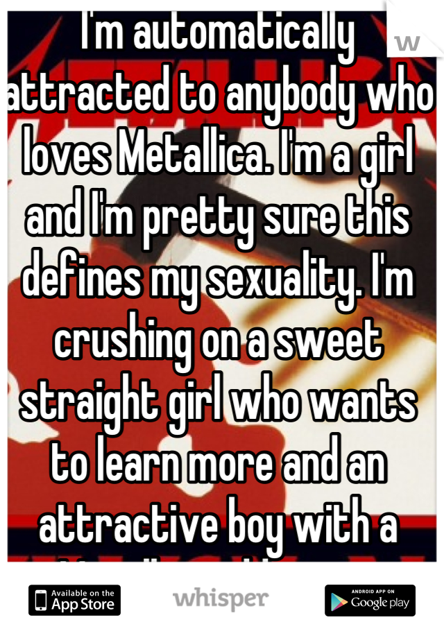 I'm automatically attracted to anybody who loves Metallica. I'm a girl and I'm pretty sure this defines my sexuality. I'm crushing on a sweet straight girl who wants to learn more and an attractive boy with a Metallica addiction.