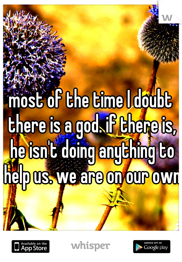 most of the time I doubt there is a god. if there is, he isn't doing anything to help us. we are on our own