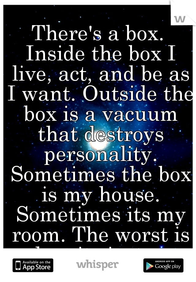 There's a box. Inside the box I live, act, and be as I want. Outside the box is a vacuum that destroys personality. Sometimes the box is my house. Sometimes its my room. The worst is when its just me.