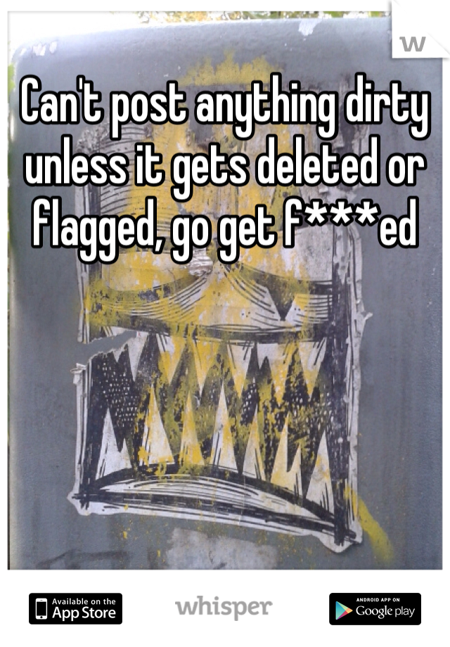 Can't post anything dirty unless it gets deleted or flagged, go get f***ed