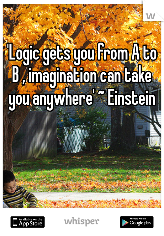 'Logic gets you from A to B , imagination can take you anywhere' ~ Einstein
