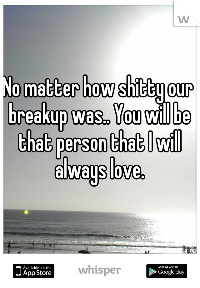 No matter how shitty our breakup was.. You will be that person that I will always love.