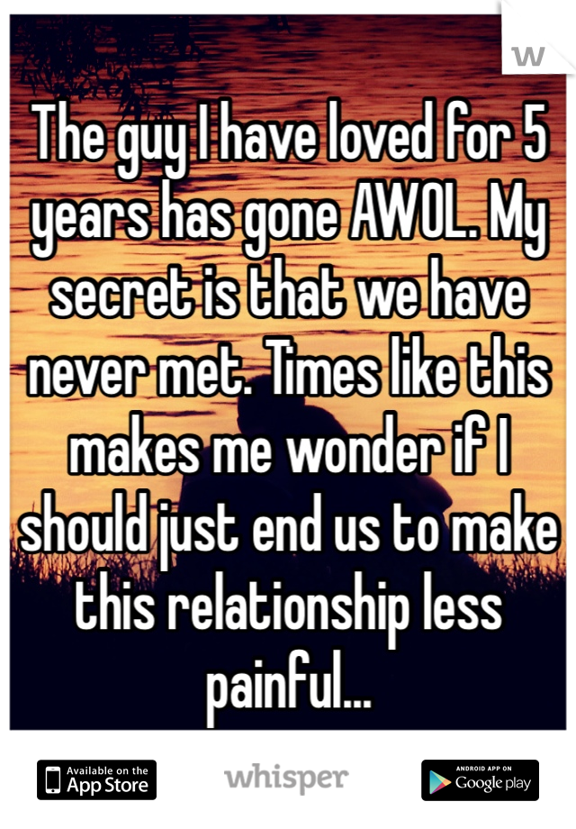 The guy I have loved for 5 years has gone AWOL. My secret is that we have never met. Times like this makes me wonder if I should just end us to make this relationship less painful...