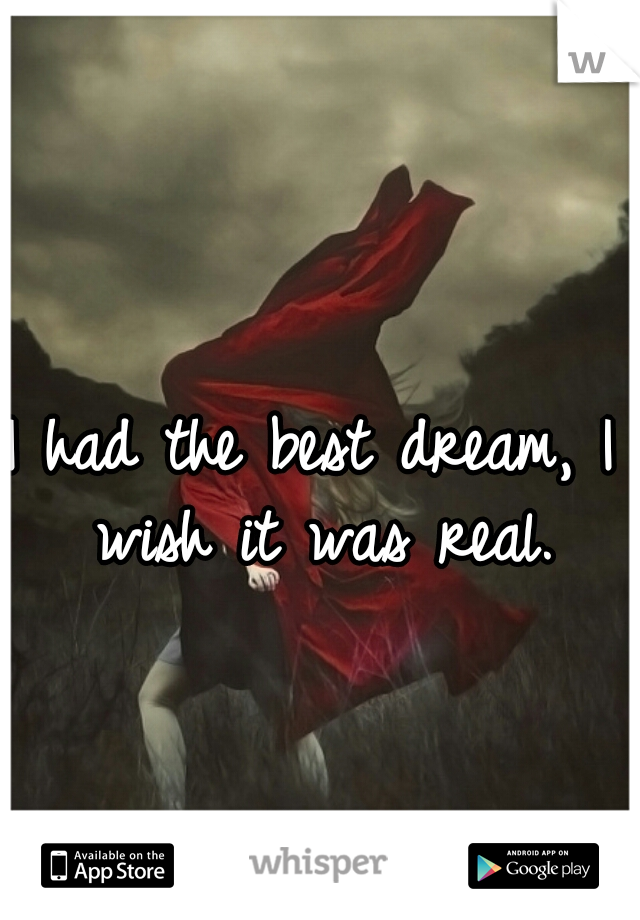 I had the best dream, I wish it was real.