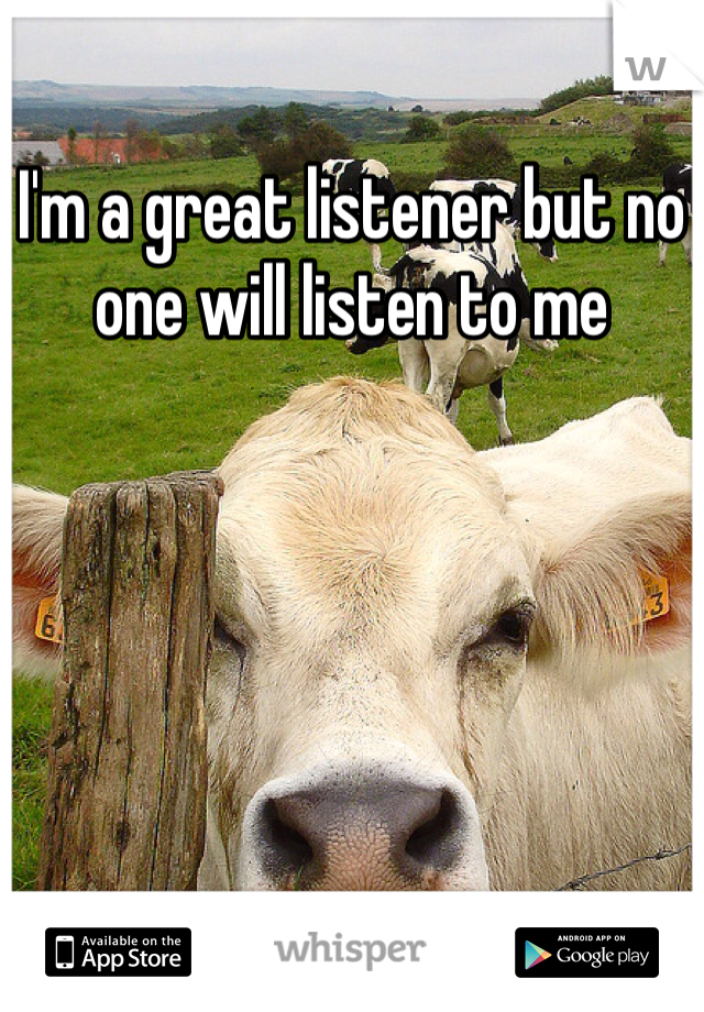 I'm a great listener but no one will listen to me