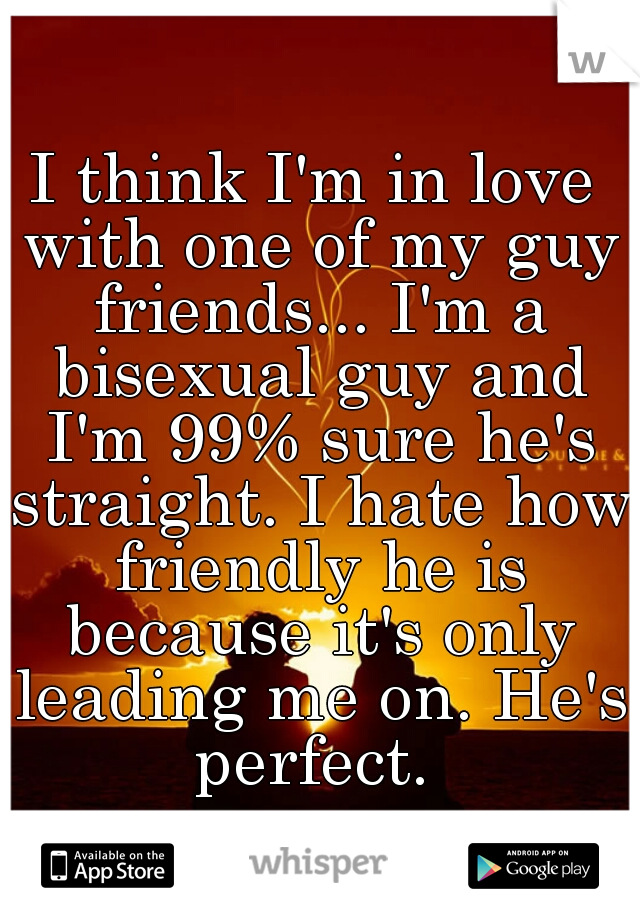 I think I'm in love with one of my guy friends... I'm a bisexual guy and I'm 99% sure he's straight. I hate how friendly he is because it's only leading me on. He's perfect.