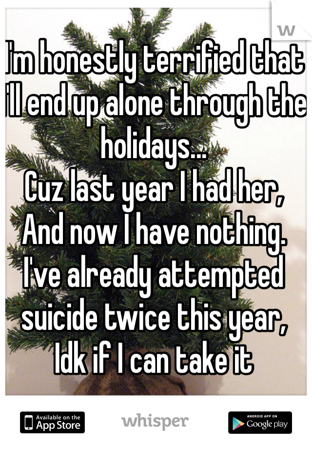 I'm honestly terrified that I'll end up alone through the holidays... Cuz last year I had her, And now I have nothing. I've already attempted suicide twice this year, Idk if I can take it