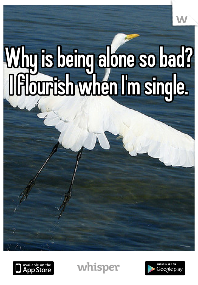 Why is being alone so bad? I flourish when I'm single.