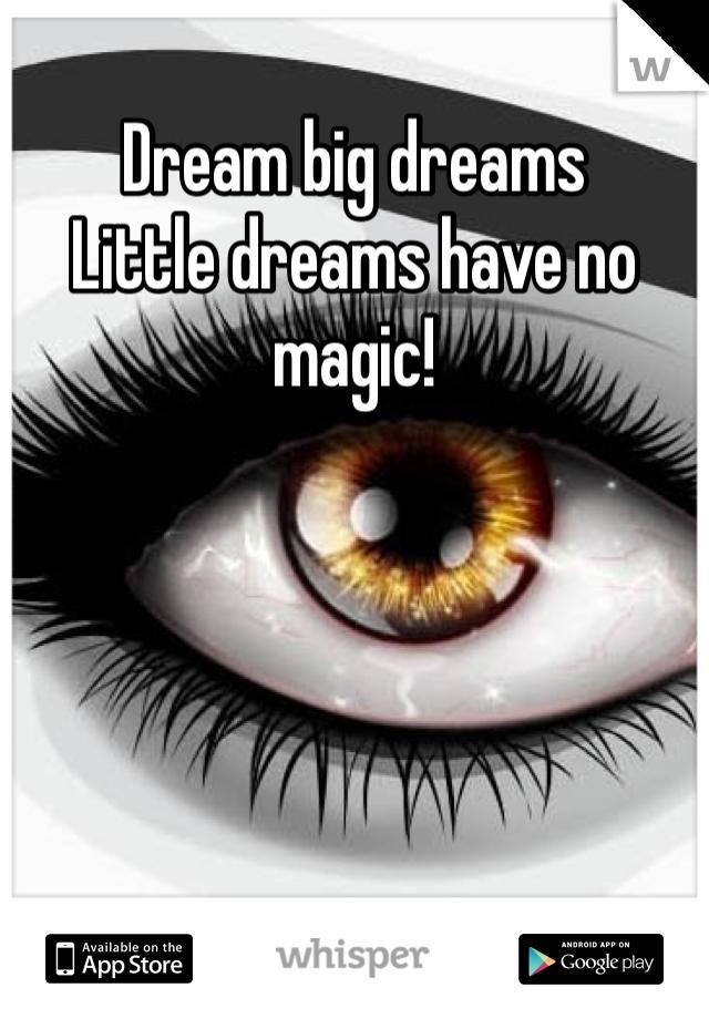 Dream big dreams Little dreams have no magic!
