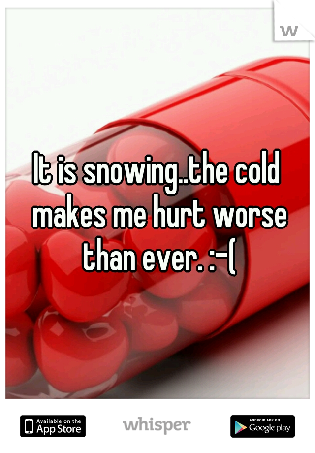 It is snowing..the cold makes me hurt worse than ever. :-(