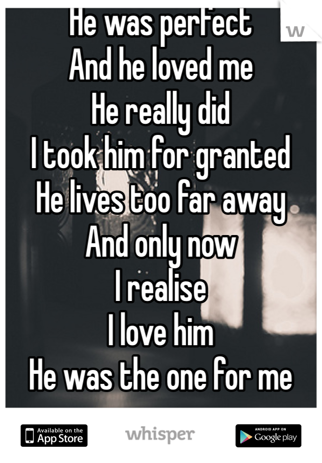 He was perfect  And he loved me He really did I took him for granted  He lives too far away And only now  I realise  I love him  He was the one for me
