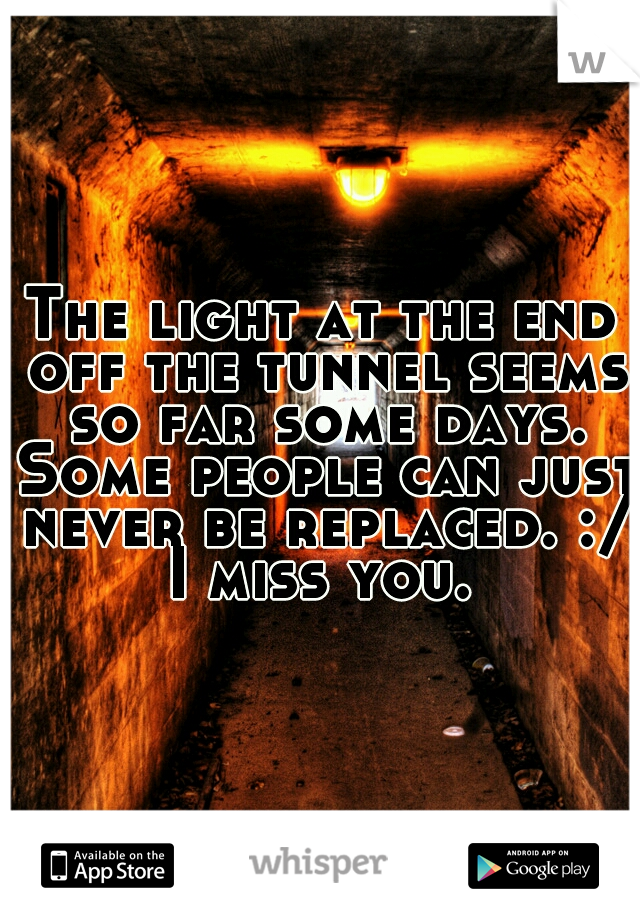 The light at the end off the tunnel seems so far some days. Some people can just never be replaced. :/ I miss you.