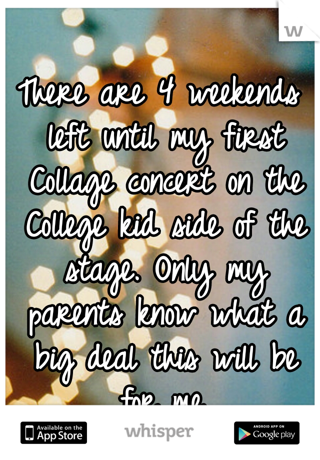 There are 4 weekends left until my first Collage concert on the College kid side of the stage. Only my parents know what a big deal this will be for me.