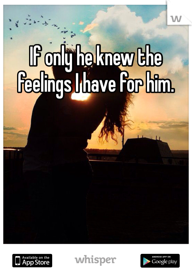 If only he knew the feelings I have for him.