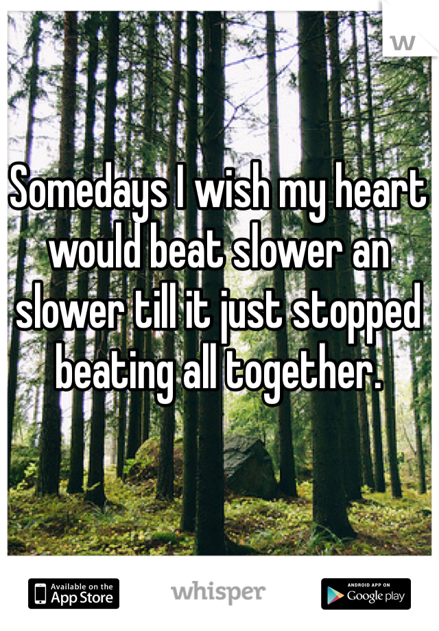 Somedays I wish my heart would beat slower an slower till it just stopped beating all together.