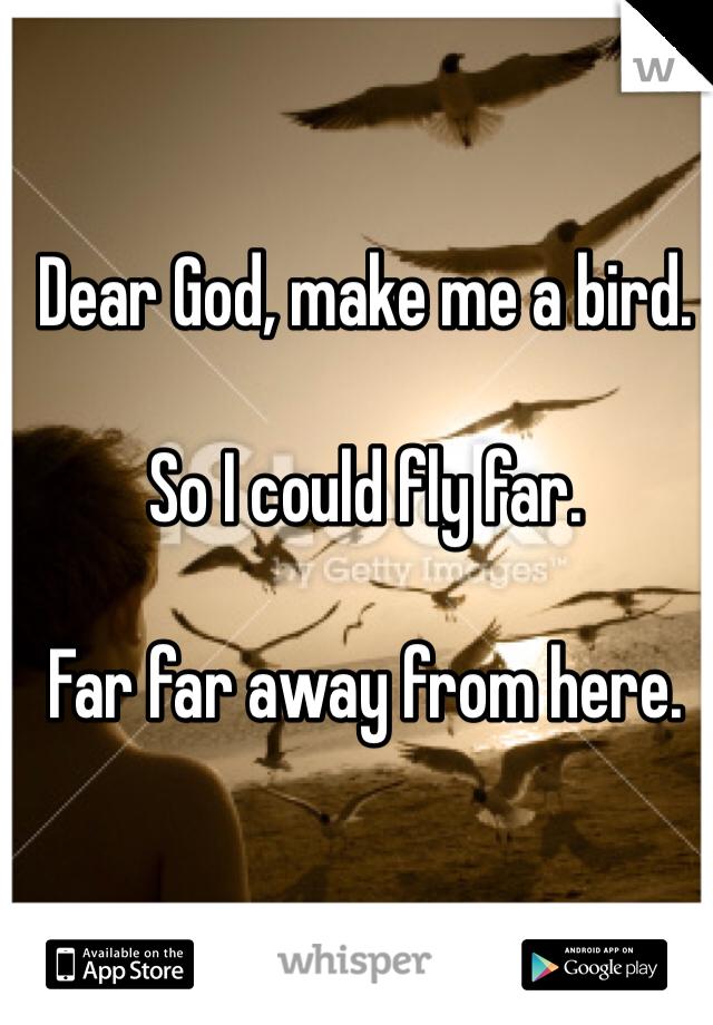 Dear God, make me a bird.   So I could fly far.   Far far away from here.