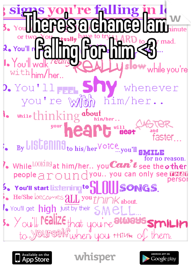 There's a chance Iam falling for him <3