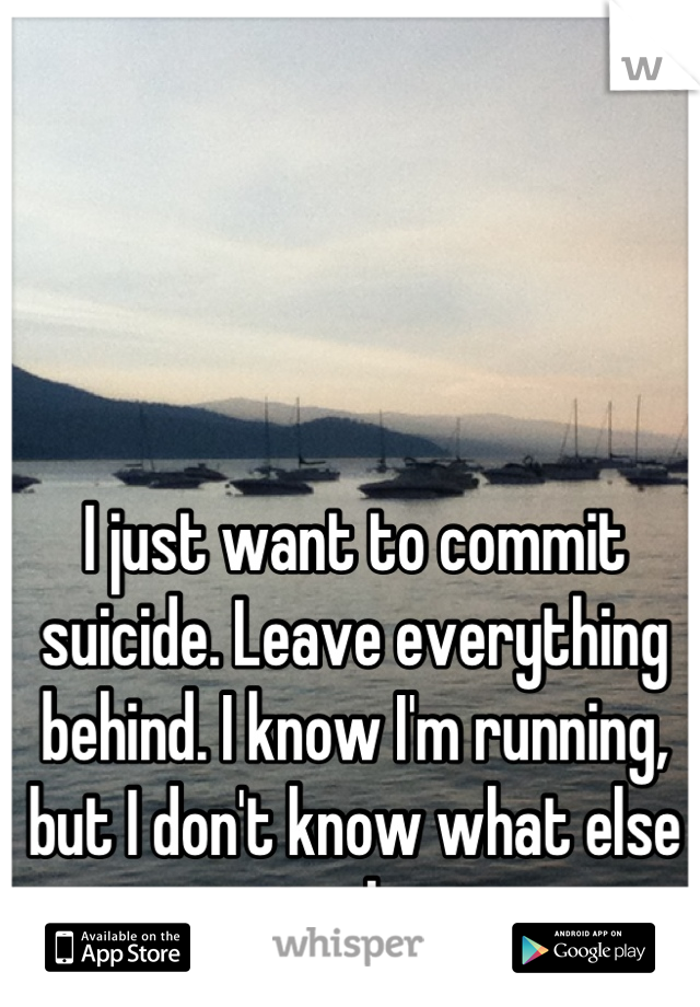 I just want to commit suicide. Leave everything behind. I know I'm running, but I don't know what else to do.