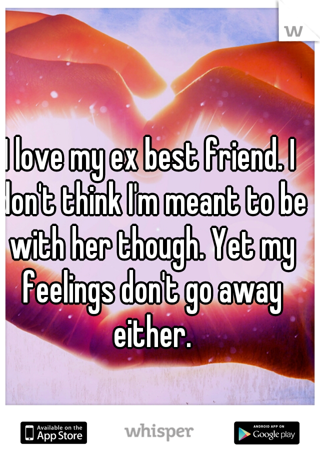 I love my ex best friend. I don't think I'm meant to be with her though. Yet my feelings don't go away either.