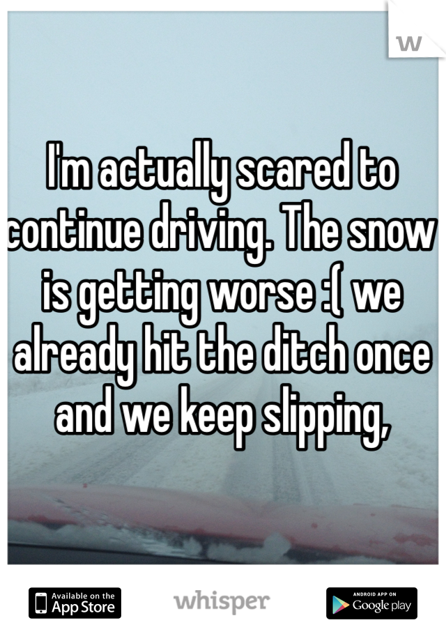 I'm actually scared to continue driving. The snow is getting worse :( we already hit the ditch once and we keep slipping,