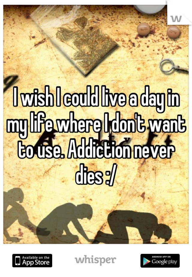 I wish I could live a day in my life where I don't want to use. Addiction never dies :/