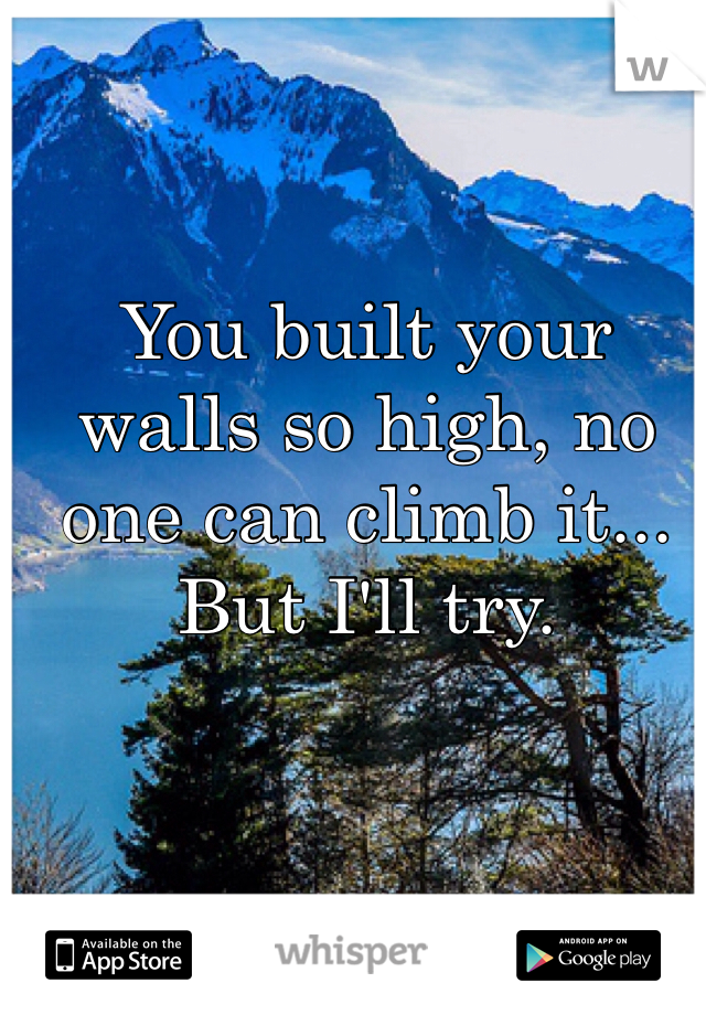 You built your walls so high, no one can climb it... But I'll try.