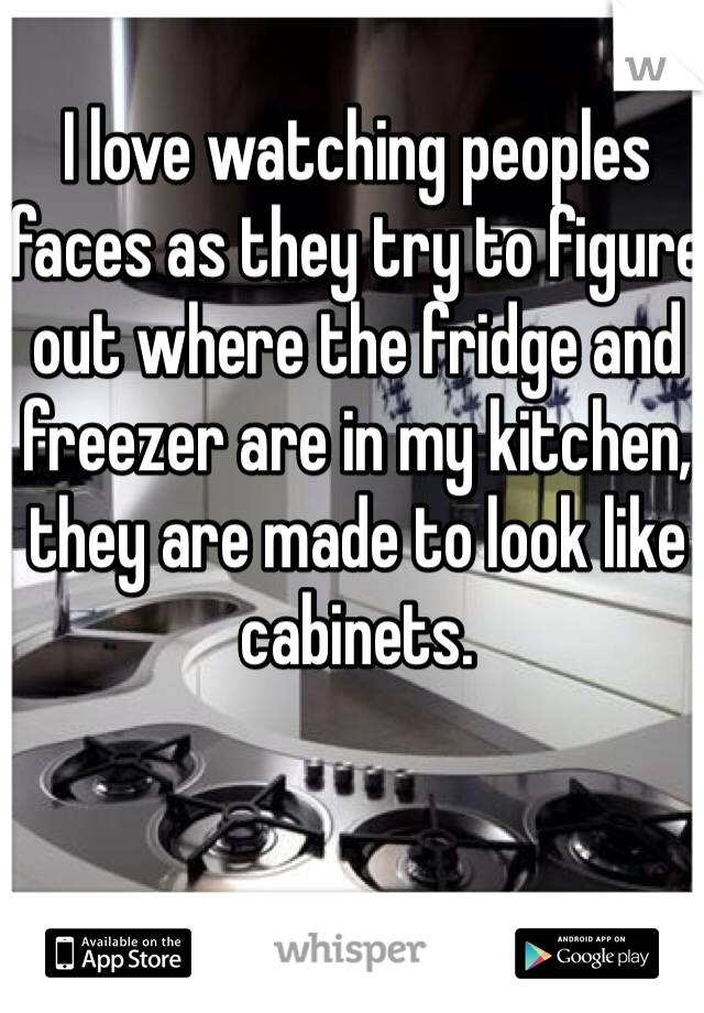 I love watching peoples faces as they try to figure out where the fridge and freezer are in my kitchen, they are made to look like cabinets.