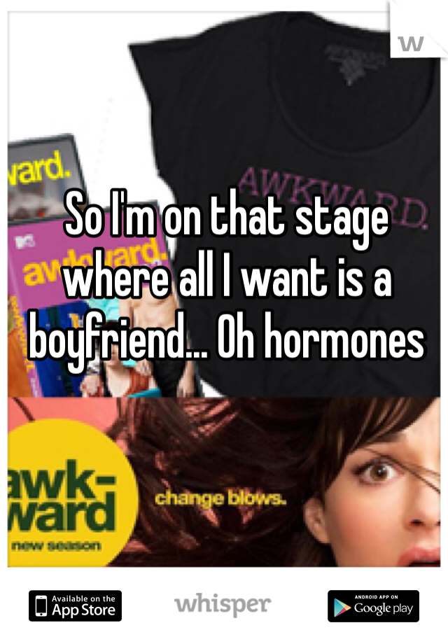 So I'm on that stage where all I want is a boyfriend... Oh hormones