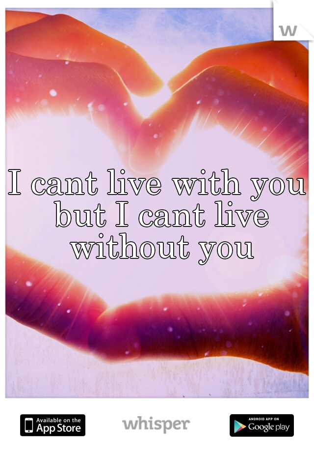 I cant live with you but I cant live without you