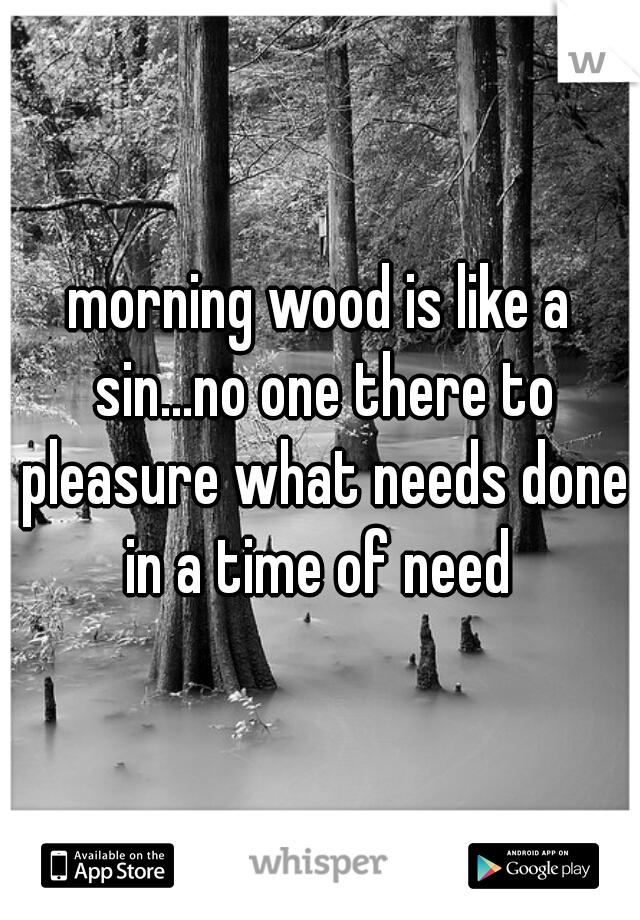 morning wood is like a sin...no one there to pleasure what needs done in a time of need
