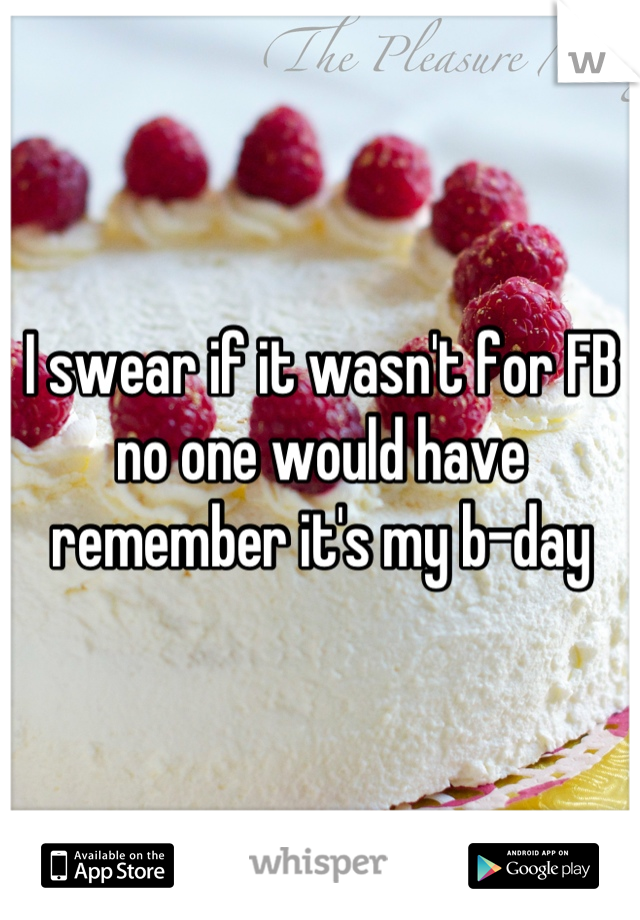 I swear if it wasn't for FB no one would have remember it's my b-day