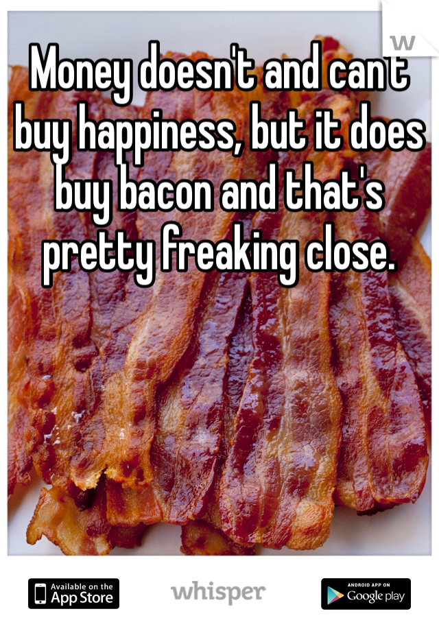Money doesn't and can't buy happiness, but it does buy bacon and that's pretty freaking close.