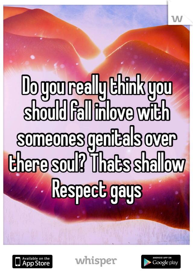 Do you really think you should fall inlove with someones genitals over there soul? Thats shallow Respect gays