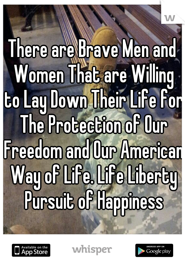 There are Brave Men and Women That are Willing to Lay Down Their Life for The Protection of Our Freedom and Our American Way of Life. Life Liberty Pursuit of Happiness