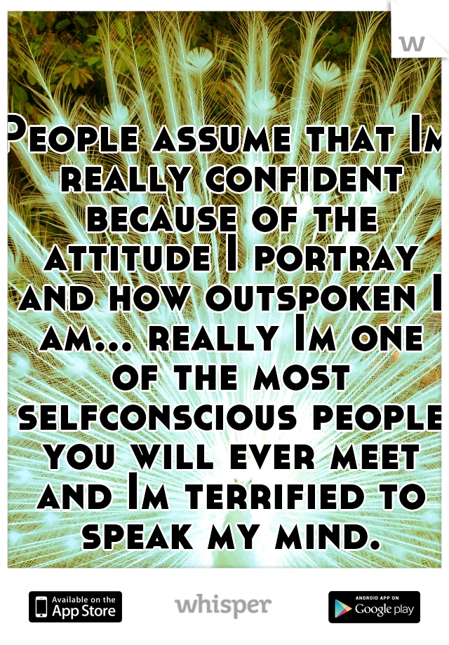 People assume that Im really confident because of the attitude I portray and how outspoken I am... really Im one of the most selfconscious people you will ever meet and Im terrified to speak my mind.