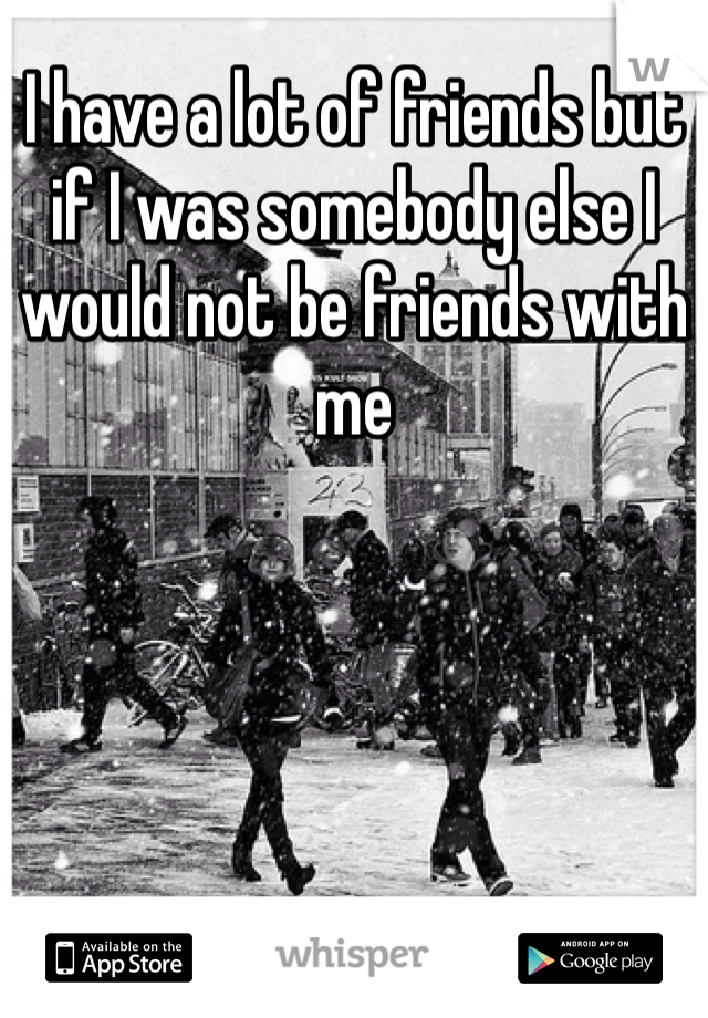 I have a lot of friends but if I was somebody else I would not be friends with me