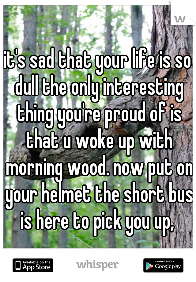 it's sad that your life is so dull the only interesting thing you're proud of is that u woke up with morning wood. now put on your helmet the short bus is here to pick you up,