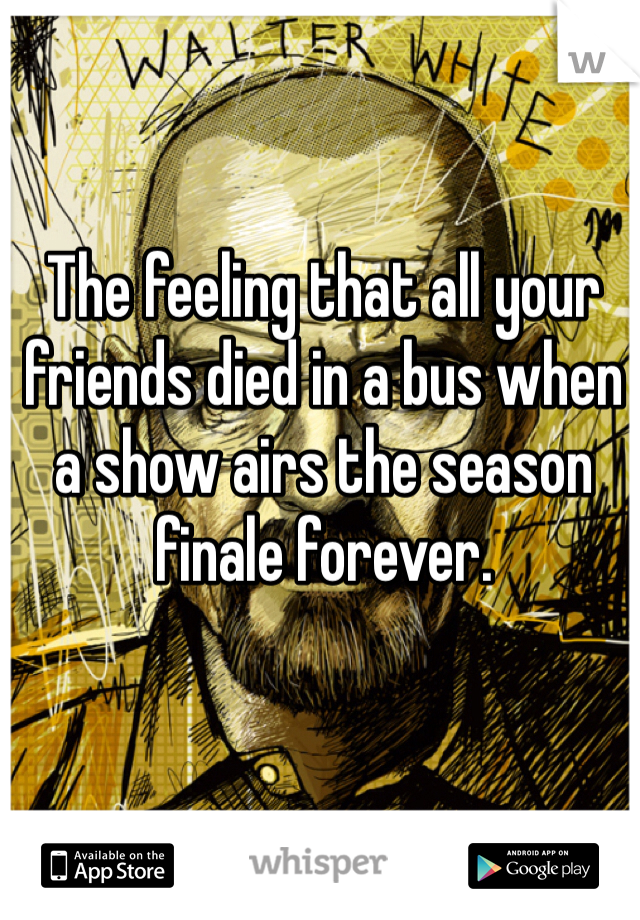 The feeling that all your friends died in a bus when a show airs the season finale forever.