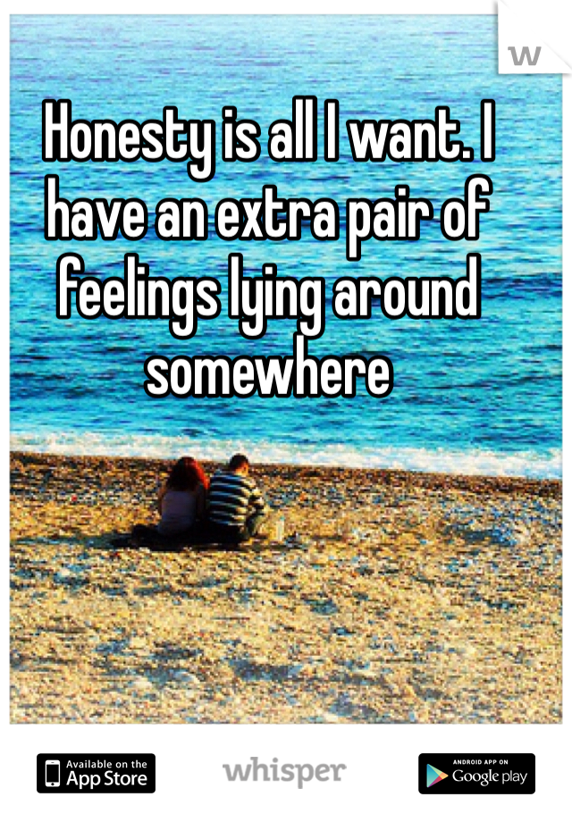 Honesty is all I want. I have an extra pair of feelings lying around somewhere