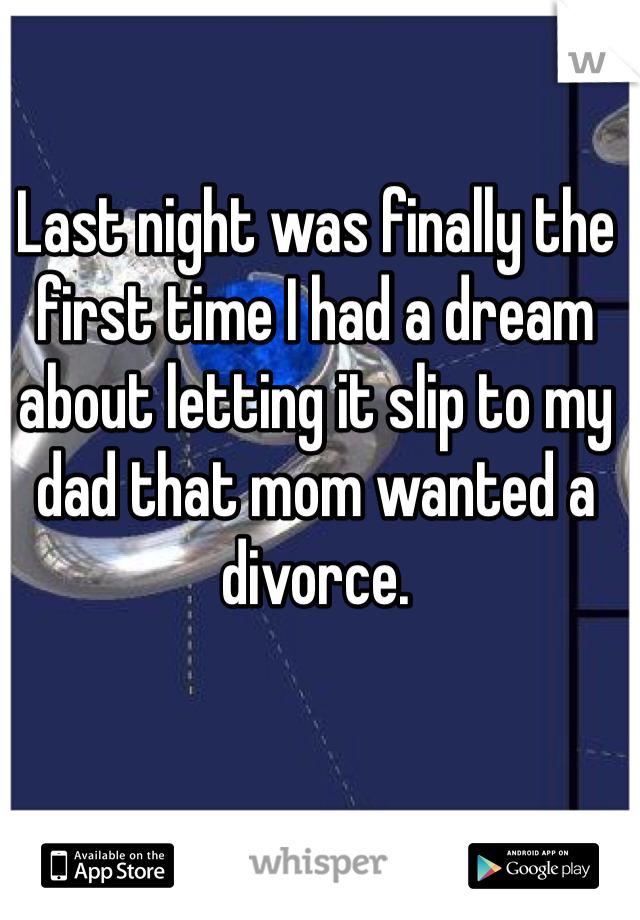 Last night was finally the first time I had a dream about letting it slip to my dad that mom wanted a divorce.