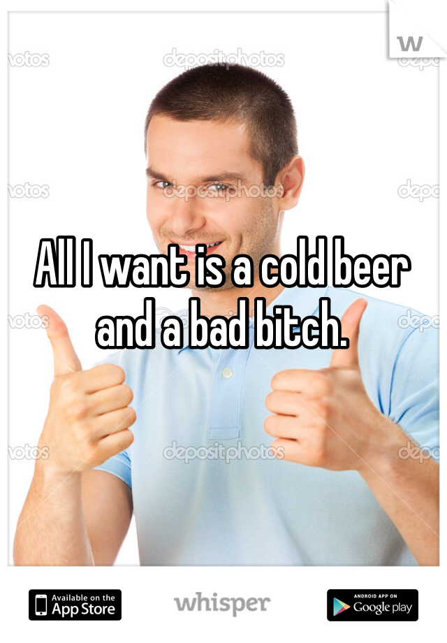 All I want is a cold beer and a bad bitch.