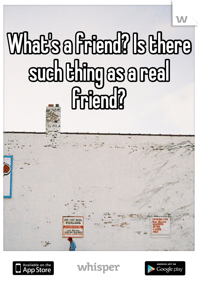 What's a friend? Is there such thing as a real friend?