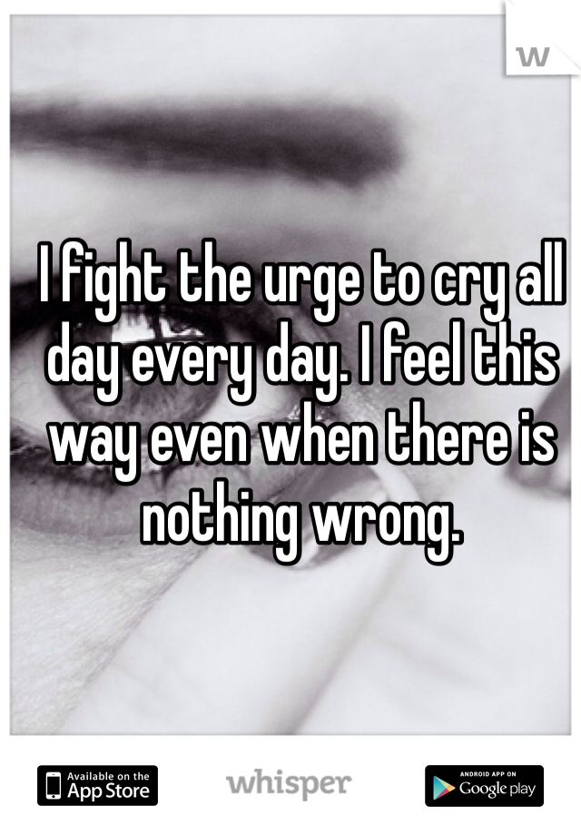 I fight the urge to cry all day every day. I feel this way even when there is nothing wrong.