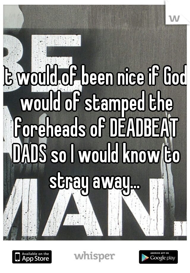 It would of been nice if God would of stamped the foreheads of DEADBEAT DADS so I would know to stray away...