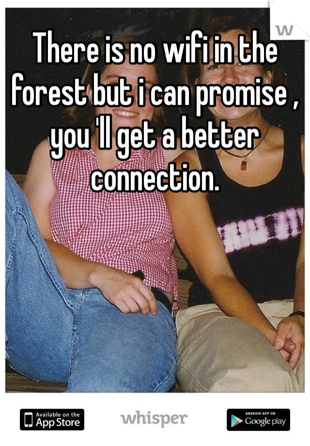 There is no wifi in the forest but i can promise , you 'll get a better connection.