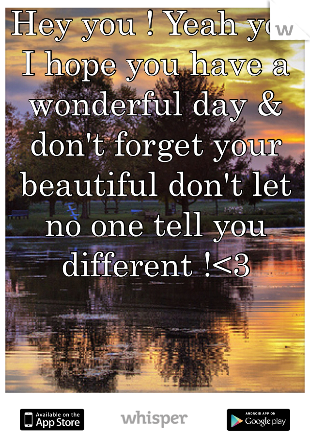Hey you ! Yeah you I hope you have a wonderful day & don't forget your beautiful don't let no one tell you different !<3