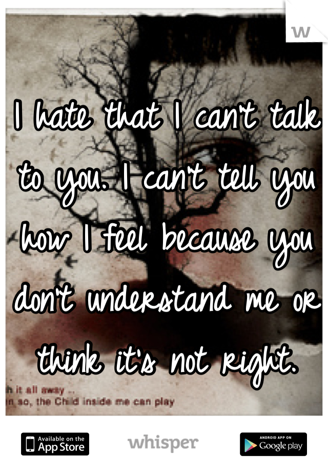 I hate that I can't talk to you. I can't tell you how I feel because you don't understand me or think it's not right.